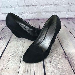 Bakers Crosstown Platform Black Wedge Suede Shoes